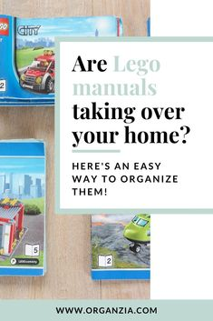 Are Lego manuals taking over your home? Here's a simple way to organize all those Lego instruction manuals laying around! Declutter Your Mind, Organize Your Life, Organizing Your Home, Organize Kids, Organizing Ideas, Kids Room Organization, Storage Organization, Lego Room Decor, Lego Bedroom