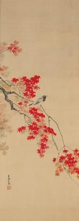 A Japanese scroll painting of a bird on a maple branch. Gold…
