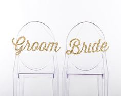 Gold Glitter Bride and Groom Chair Signs
