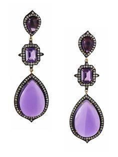 They are PURPLE:  J/Hadley Multi-Shape Amethyst & Diamond Triple Drop Earrings