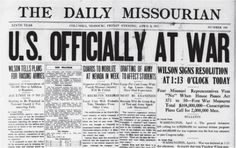 This week marks the anniversary of the USA entering the First World War. Listen to our latest episode, featuring the American Historian, Michael. Today In History, History Class, World History, World War One, First World, Newspaper Headlines, Newspaper Article, Primary Sources, History Projects