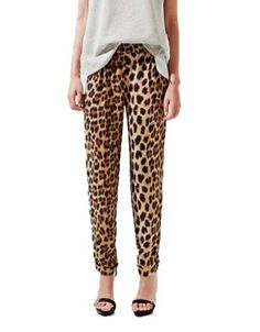 I found leopard pants! These are cheap  and PERFECT.  $22 ELLAZHU Women Leopard Print Tapered Harem Leg Ankle Length Jean Pant Trouser