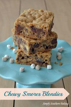 Chewy Smores Blondies - easy to make bar cookie that disappears fast! www.SimplySouthernBaking.com