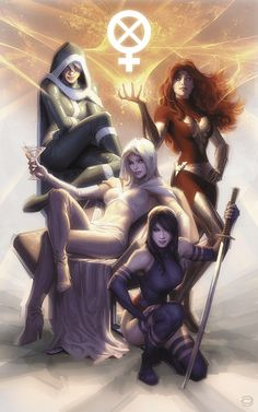 Rogue, Phoenix, Emma Frost, and Psylocke are just your typical amazingly powerful mutants that look like supermodels. I guess it's better than the opposite. Not to be confused with the all female X-Men comic coming in April, this poster was created by Alex Garner as a print on sale at the 2012 Comic-Con