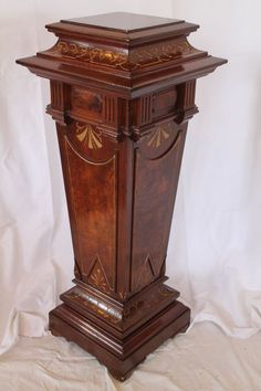 1870's Walnut Renaissance Revival Victorian Pedestal