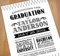 LETTERPRESS Printable Graduation Announcement by PrintasticDesign, $20.00