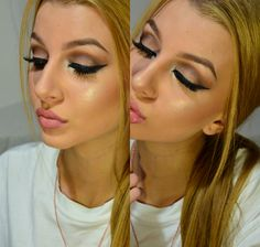 #KatarinaF #makeup #eyes #bronze #shimmer #tan #neutral #winged #liner #eyeliner #falsies #false #lashes #blonde  #glowy