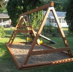 I love BEFORE and AFTERs on home decorating shows and makeover shows. Here's my own before and after of the swingset. Before: weathered ...