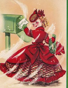 christmas greetings Vintage Christmas Greeting Card - Lady in full red victorian dress Vintage Christmas Images, Victorian Christmas, Retro Christmas, Vintage Holiday, Christmas Pictures, All Things Christmas, Hallmark Christmas, Vintage Images, Vintage Greeting Cards