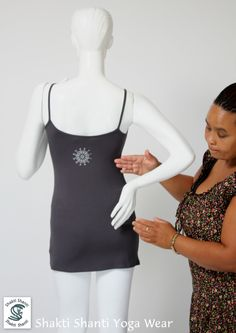 new charcoal viscose vest with silver print Yoga Wear, Charcoal, Cold Shoulder Dress, Vest, Gallery, Silver, How To Wear, Tops, Dresses