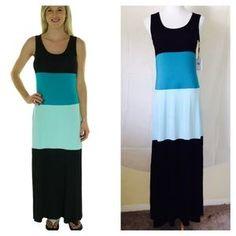 Calvin Klein Dresses & Skirts - Colorblock Sleeveless Maxi Dress black/Aqua/Lago