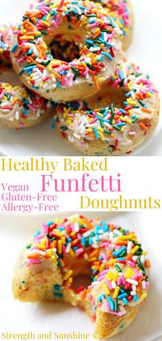 These Healthy Baked Funfetti Doughnuts are gluten-free, vegan, paleo, and allergy-free! They're an easy homemade donut recipe for any birthday, graduation, or celebration you have planned! Topped with a delicious vanilla protein frosting, this super kid-friendly and colorful dessert or breakfast is just what you need for some fun and smilies! #birthdayideas #kidsbirthday #funfetti #donutrecipe #bakeddonuts #indoorpartyideas #easybirthdaycake Low Sugar Recipes, Donut Recipes, Real Food Recipes, Dessert Recipes, Yummy Food, Top Recipes, Vegan Desserts, Delicious Recipes, Breakfast Recipes