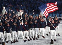 USA! The Olympic team wore red, white and blue at the 2010 Vancouver Winter Olympics as they made their way through the stadium during the opening ceremony on Feb. 12, 2010.