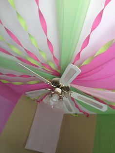 Using plastic tablecloth streamers To get. A birthday party