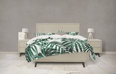 Tropical Leaf forest green duvet cover