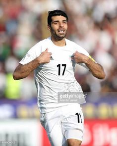 Mehdi Taremi celebrates ofter the first goal during Iran against China PR FIFA 2018 World Cup Qualifier on March 28 2017 in Tehran Iran