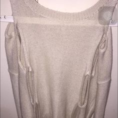 Off the shoulder sweater Can fit a large , Holes, cream color , worn once Sweaters Crew & Scoop Necks