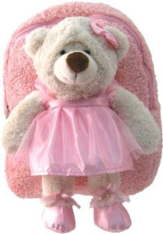 NIB Kreative Kids Soft Plush Pink Backpack & Ballerina Bear for Little Ones