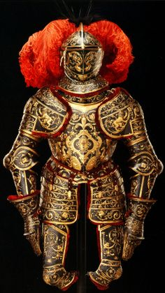 Parade Armor, c1562, attributed to Eliseus Libaerts an Antwerp armourer/goldsmith, (known to be active 1557-69) who specialized in richly embossed armor, made ​​for either King Erik XIV of Sweden or King Frederick II of Denmark. The central motif of the breastplate is the head of Medusa, Rustkrammer, Staalich Kunstsammlungen, Dresden.
