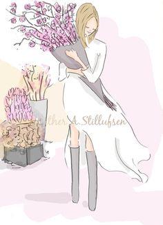 Hello Spring Art for Women Cherry by RoseHillDesignStudio