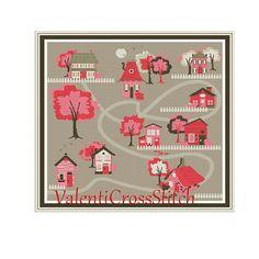 Little city cross stitch pattern town little от ValentiCrossStitch