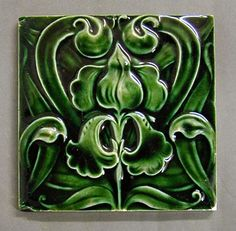 Art Nouveau tile by Craven Dunnill and Co c. 1905. Relief moulded dust-pressed tile.   Location: Jackfield Tile Museum, Shropshire, England.