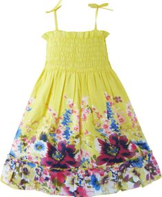 Girls Dress Tank Smocked Trim Flower School Kids Clothes 2 3 4 5 6 6X 7 8 9 10 Y