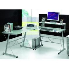 L-Shaped Workstation Computer Desk with Frosted Glass Top (Office Product) www.amazon.com/...