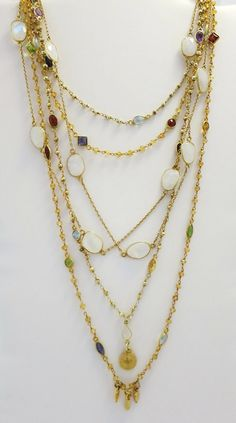 Iridescent White Moonstones and Faceted Citrine by LaurenMercedes, $345.00