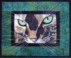 Photo Detail.  Art Quilt Wall Hanging Fiber Art Quilt Cat by thebutterflyquilter