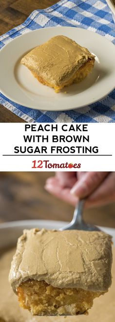 Peach cake with brown sugar frosting