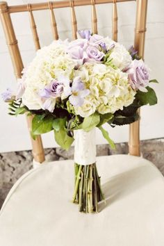 Beautiful Bouquet - Purple Roses & White Hydrangea