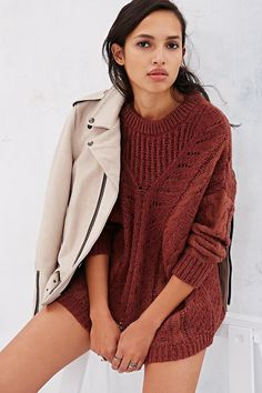 Ecote Plated Cable Sweater