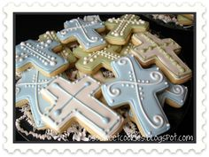 First Communion/Baptism Cookies Sweet Cookies, Baby Cookies, Easter Cookies, Fun Cookies, Cupcake Cookies, Sugar Cookies, First Communion Cakes, Communion Favors, Christian Cakes