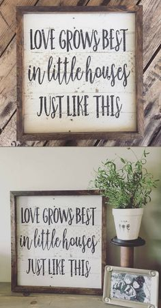 Love grows best in little houses just like this, love grows best sign, shiplap inspired sign, little houses sign, reclaimed wood sign, farmhouse sign, farmhouse decor, rustic sign, rustic decor, family sign, living room wall decor #ad