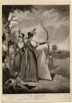 """""""Description  Women holding bows and arrows in a field. 6 May 1792  Mezzotint    Inscriptions  Inscription Content: With title below and address 'Publish'd May 6th 1792 by Robert Sayer & Co. Fleet Street, London'. Numbered in lower left '279'"""""""