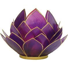 Plum Purple Full Bloom Capiz Lotus Candle Holders (gold Edged) (58 SAR) ❤ liked on Polyvore featuring home, home decor, candles & candleholders, cultural intrigue, seashell candle holder, lotus candle holder, seashell home decor and lotus flower candle holder