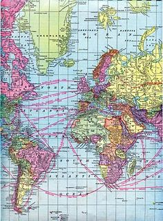 Vintage Clip Art - World Maps - Printable maps to use as backgrounds for photos, banners, signs, etc.