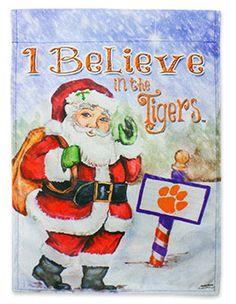 I Believe in the Tigers Santa Clemson Garden Flag | underthecarolinamoon.com