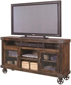 """Industrial 65"""" Console with Metal Casters by Aspenhome"""