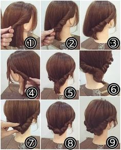 new Ideas hair styles corto recogido Prom Hairstyles For Short Hair, Short Hair Updo, Braided Hairstyles, Romantic Hairstyles, Hairstyles Videos, Pretty Hairstyles, Medium Hair Styles, Curly Hair Styles, Short Styles