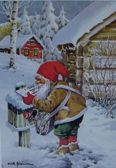 Vintage Christmas Card, Christmas mail