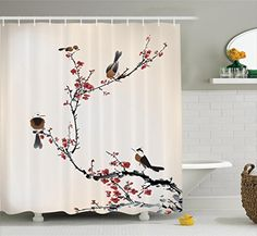 75 Inches Long Ambesonne House Decor Shower Curtain Set Ruby Caramel Bathroom Accessories Stylized Blooming Japanese Cherry Tree Watercolor Painting Effect Artistic Design Print
