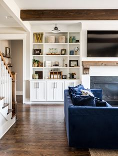 It has a unique charm and aura - due to the distinctive farmhouse design… Leslie Brown, Fireplace Bookcase, Interior Architecture, Interior Design, Open Living Area, Elegant Kitchens, Farmhouse Design, Modern Farmhouse, Fireplace Design