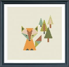 Cross stitch pattern fox in the forest geometric by Happinesst