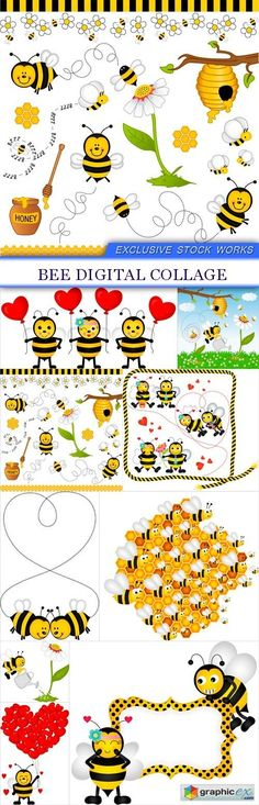 Bee digital collage 9x EPS