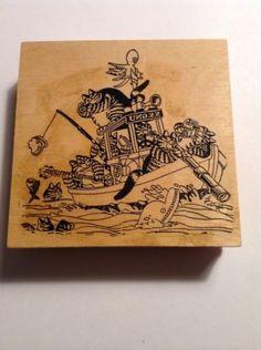 Large Hand Mounted Kliban Cat Rubber Stamp, Klibans On A Boat Fishing