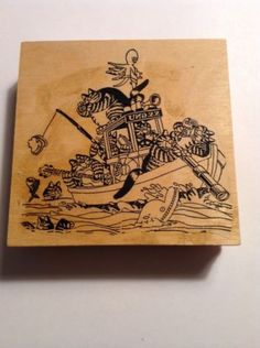 Large Hand Mounted Kliban Cat Rubber Stamp, Klibans On A Boat Fishing