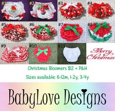 Pre-Order Christmas Bloomers $12 + P&H 11 Styles available, Sizes from 6m - 3y    *Please Note - We will be closed last 2 weeks of October so all orders will need to be in by then.*Lay-By Available*ETA November*