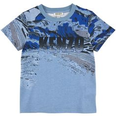 Printed cotton jersey T-shirt - Sky blue